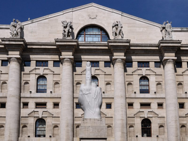 Why is there a Giant middle finger in front of Italian Stock Exchange?